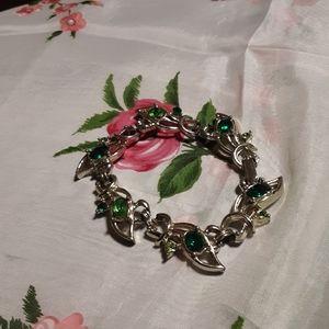 1950's metal bracelet w/ green zircon accents